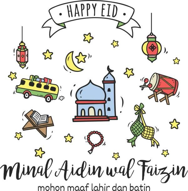 Eid Mubarak Or Idul Fitri Greeting Card In Cartoon Doodle Style