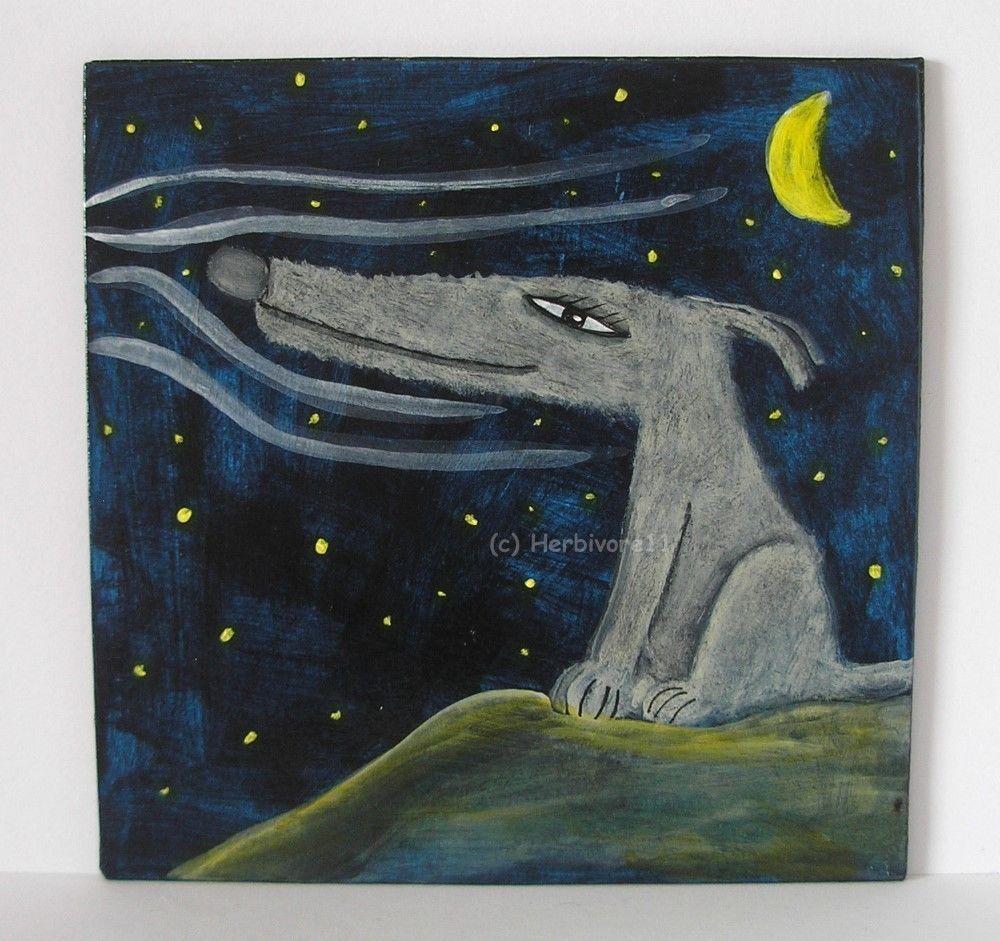 IM NACHTWIND SITZEN ! von Herbivore11 Unikat Wolf Wölfe Inchie Minibild Mond