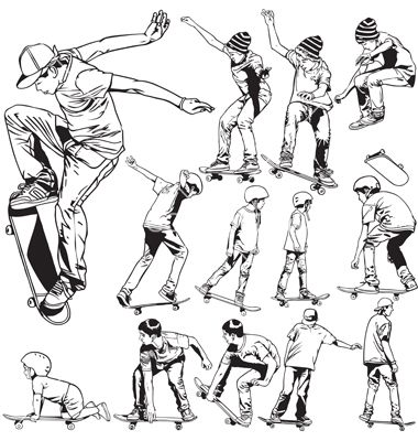 Skateboarding Drawings Vector Image On With Images