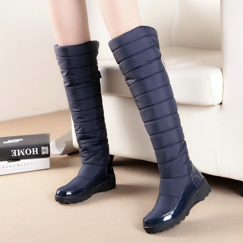 women fashion thigh high snow boots woman over the knee boots laides flat winter shoes