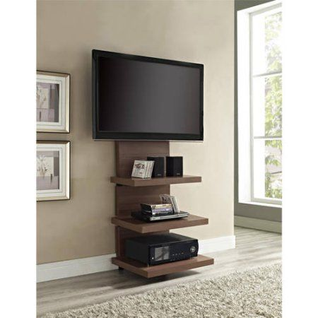 Ameriwood Home Elevation Altramount Tv Stand For Tvs Up To 60 Wide Black Walmart Com Wall Mount Tv Stand Wall Tv Stand Tv Stand Wood