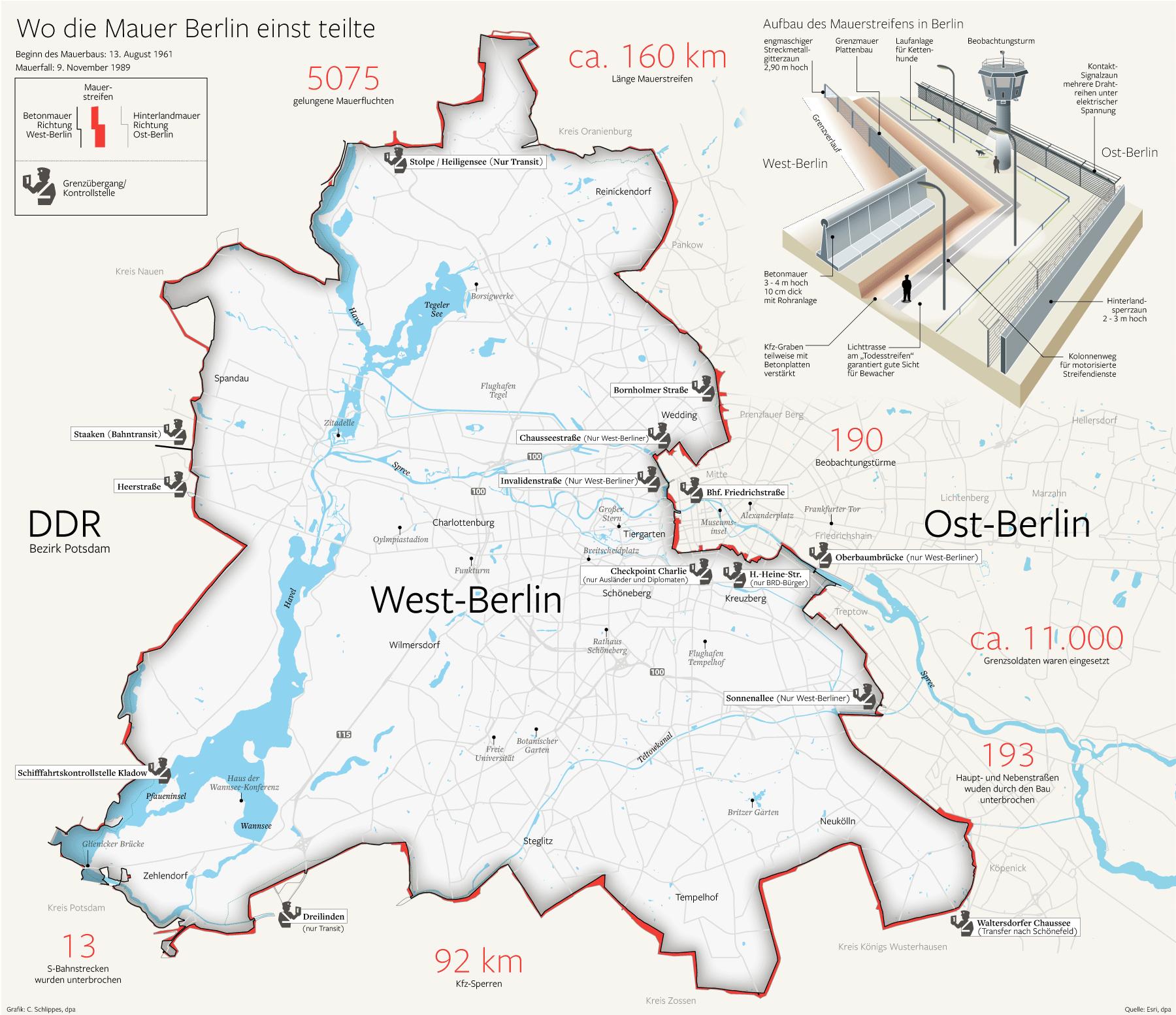Infografikportfolio Der Berliner Morgenpost Berliner Mauer Berliner Mauer Karte Berlin