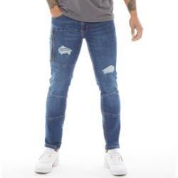 Photo of Crosshatch Herren Edengrove Skinny Jeans Mittelblau CrossHatch