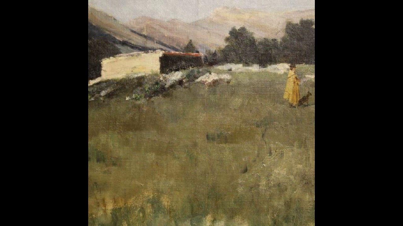 Antico dipinto italiano paesaggio con cacciatore datato 1899