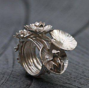 "Ring by Aline Kokinopoulos. ""The dream of the frog"". Sterling silver"