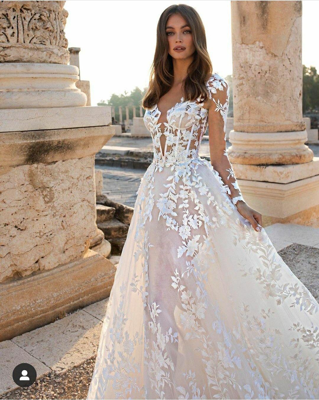 A Line Long Sleeve Floral Lace Wedding Dress With Plunging V Neckline Kleinfeld Bridal Pnina Tornai Wedding Dress Stylish Wedding Dresses Dream Wedding Dresses [ 1353 x 1079 Pixel ]