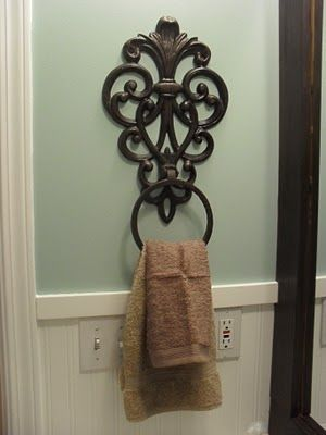 Wrought iron flower pot holder as towel ring love this - Wrought iron towel racks bathroom ...