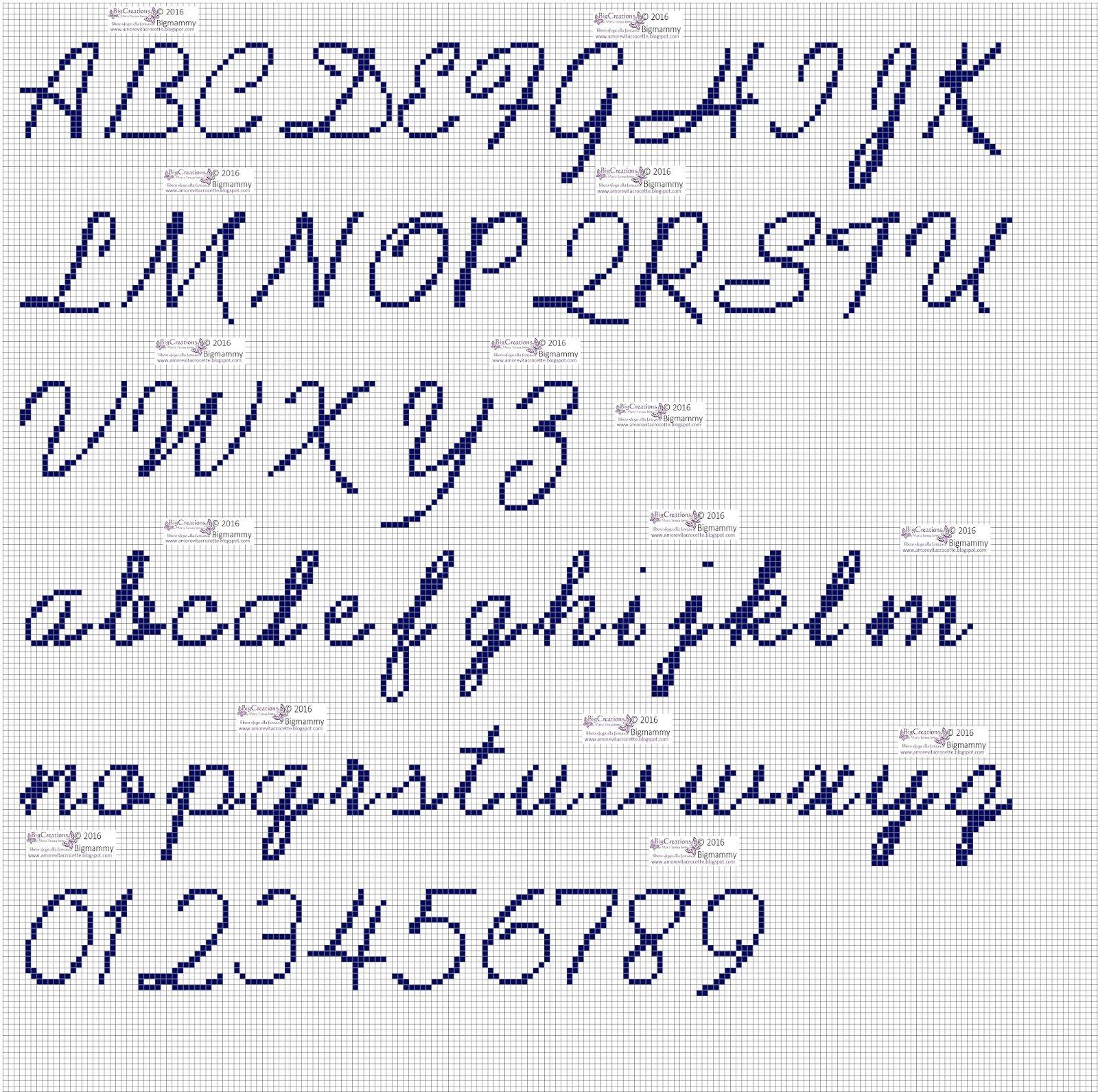 Amorevitacrocette punto croce alfabeti in corsivo for Lettere a punto croce schemi