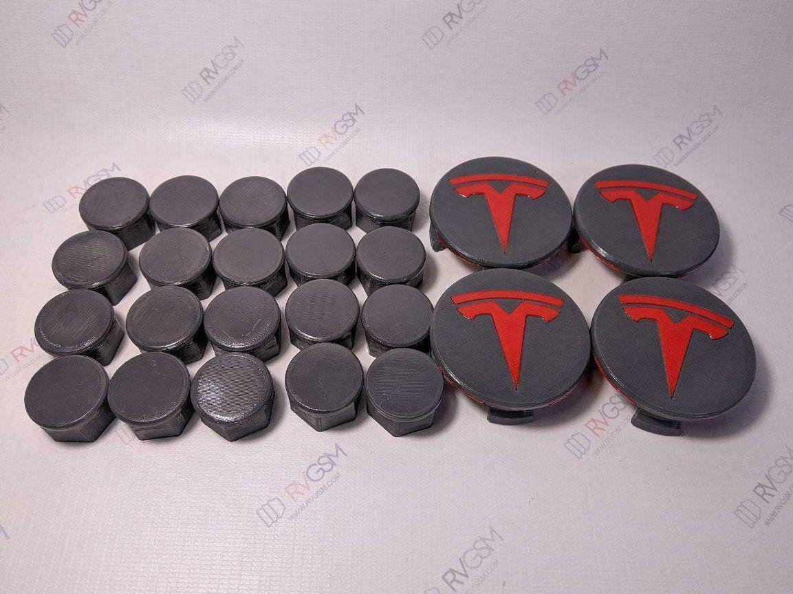 Tesla motor Model 3 Aero Wheel Center Cap Kit 3D Printed Recycled ABS WHITE
