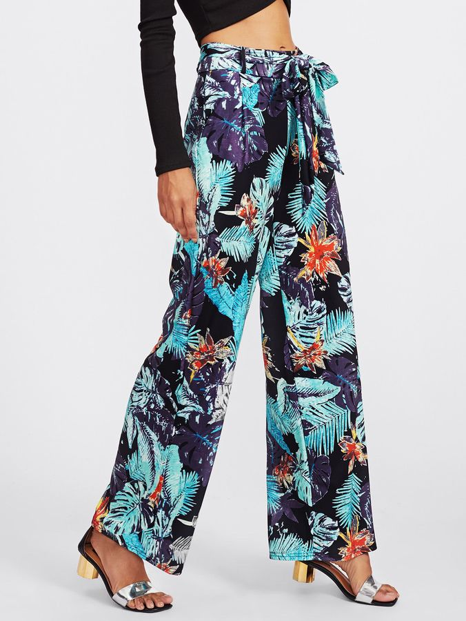 440ab31fc918 Shein Ruffle Tie Waist Tropical Print Palazzo Pants | Products ...