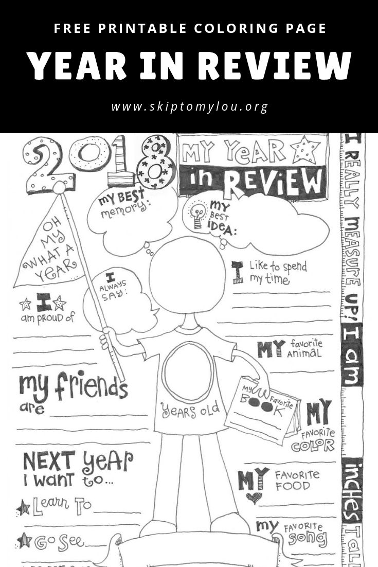 2018 Year In Review Coloring Page (UPDATED)