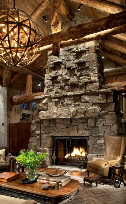 Rustic Living Room I Like The Accent Pin Lighting On The Fireplace Which In Itself Is Breath Taking Living Room Decor Rustic Rustic House Log Homes