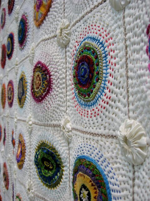 """Greit Lombard """"Block-a-Day-Therapy"""" Quilt [ I like the yo-yos used at the intersections. ki ]"""