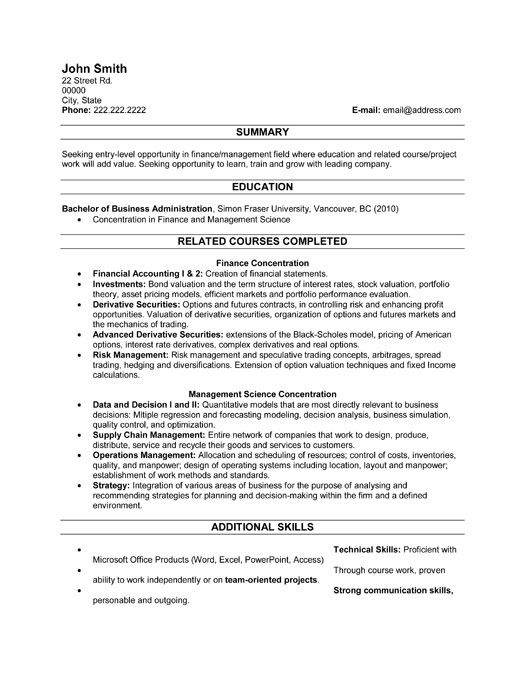 A resume template for a Recent Graduate  You can download it and - resume format for finance manager