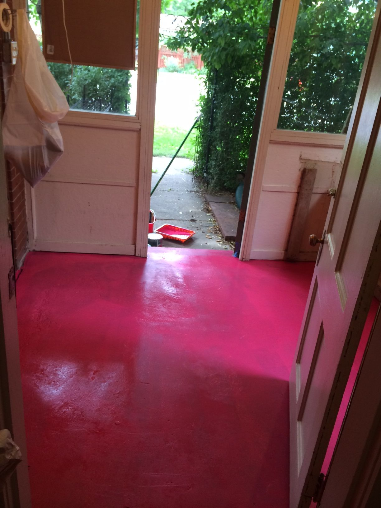 First Coat Of Bright Pink Floor Paint