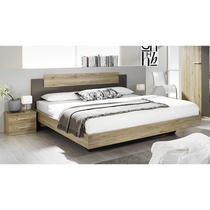 lit adulte contemporain avec chevets ch ne clair lavagrau aureal 160 cm achat vente. Black Bedroom Furniture Sets. Home Design Ideas