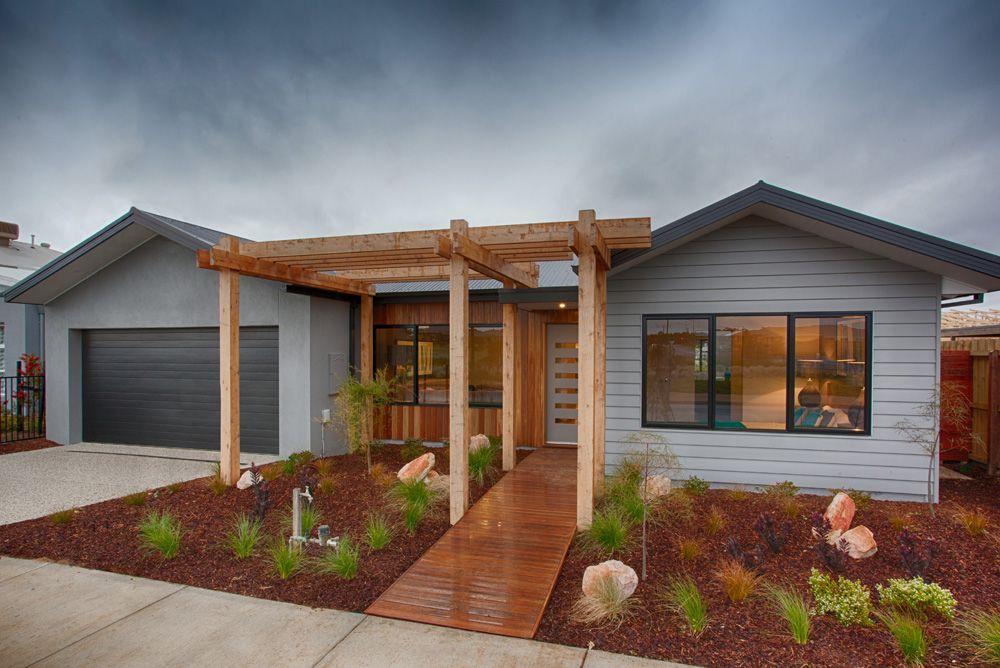 A wooden feature out the front adds an extra element