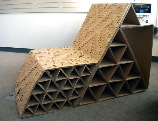 Cardboard Chair With Intricate Weave On Seat Cardboard Chair Cardboard Furniture Cardboard Design