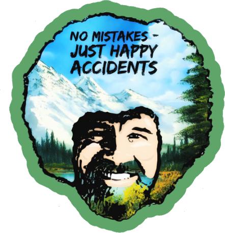 Bob Ross No Mistakes Just Happy Accidents Sticker 3 5 Decal Bob Ross Paintings Bob Ross Meme Bob Ross