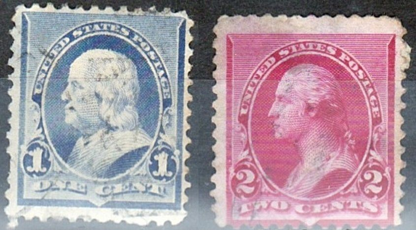 Us Stamp 1890 George Washington 1st Us Pres 1789 1797 1 And 2 Cents Presidential Series Old