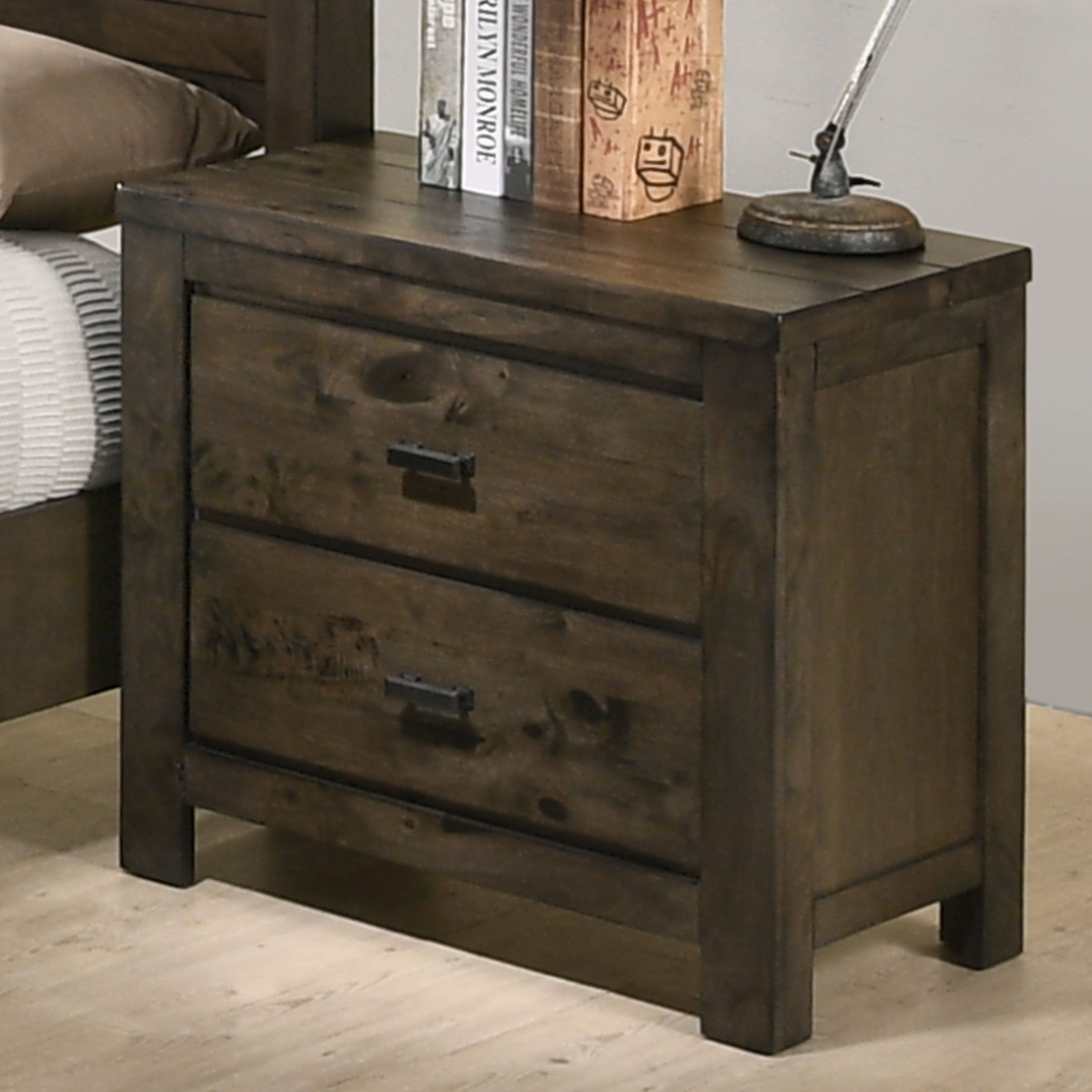 Pavita Weathered Distressed Night Stand Gray Dresser With