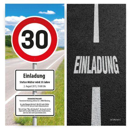 Einladungskarten zum Geburtstag 30 Stück als Verkehrszeichen
