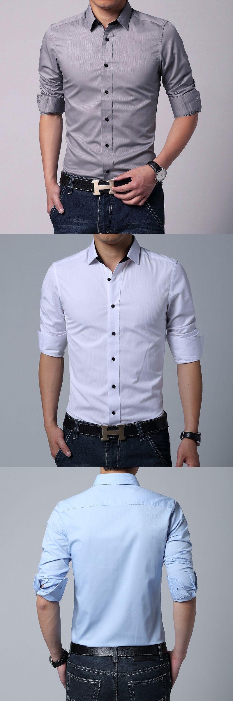 hot korean fashion simple autumn male longsleeve shirt male