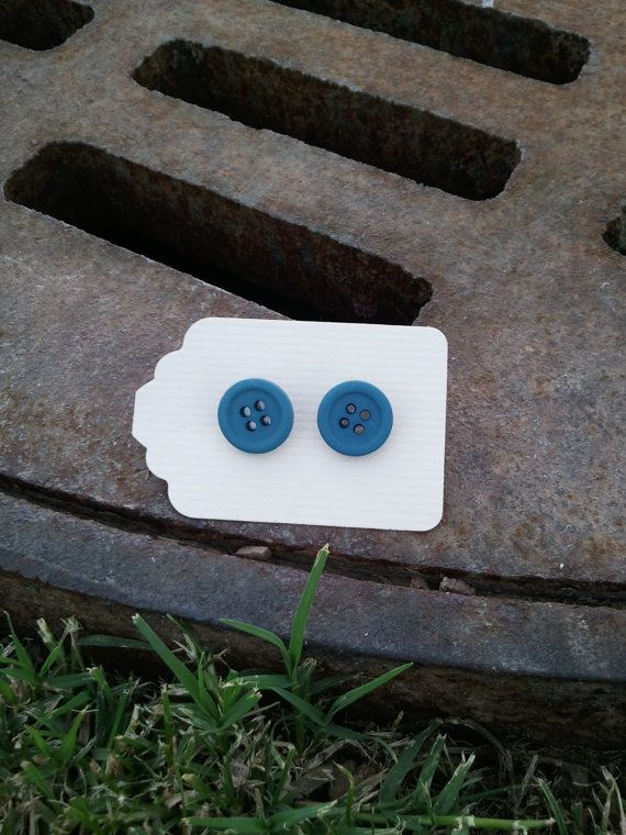Turquoise  Button Earings by kraftychix on Etsy, $2.75
