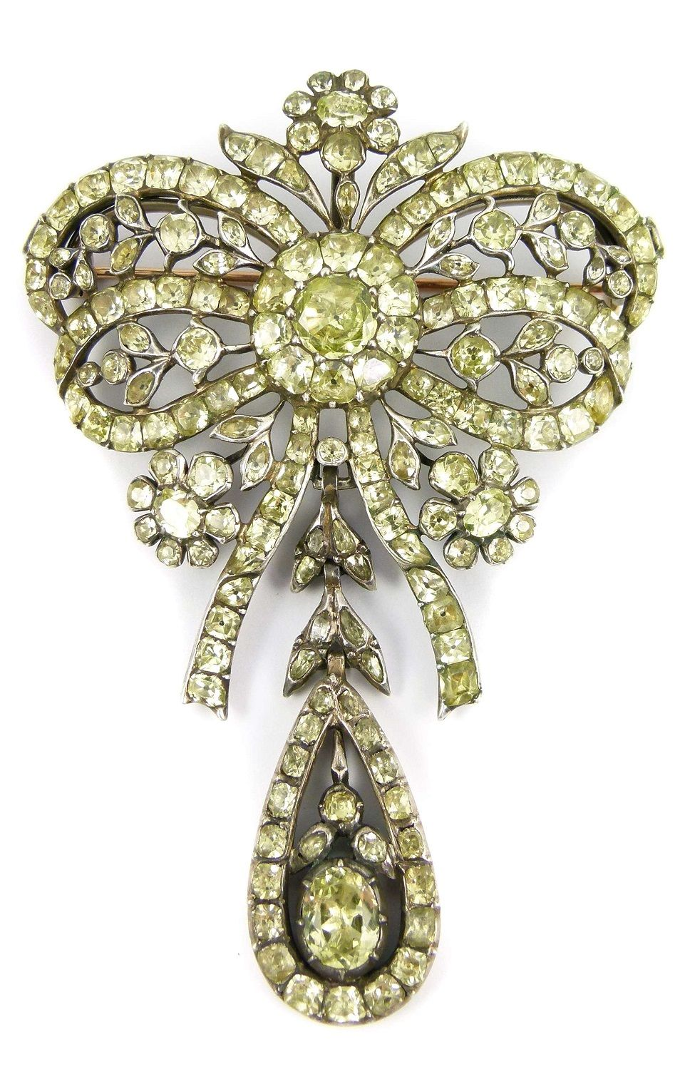 18th century chrysolite ribbon bow and drop brooch-pendant, Portuguese, c.1770