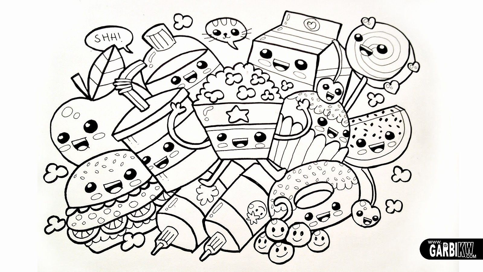 Kawaii Sweet Printable Cute Kawaii Food Coloring Pages