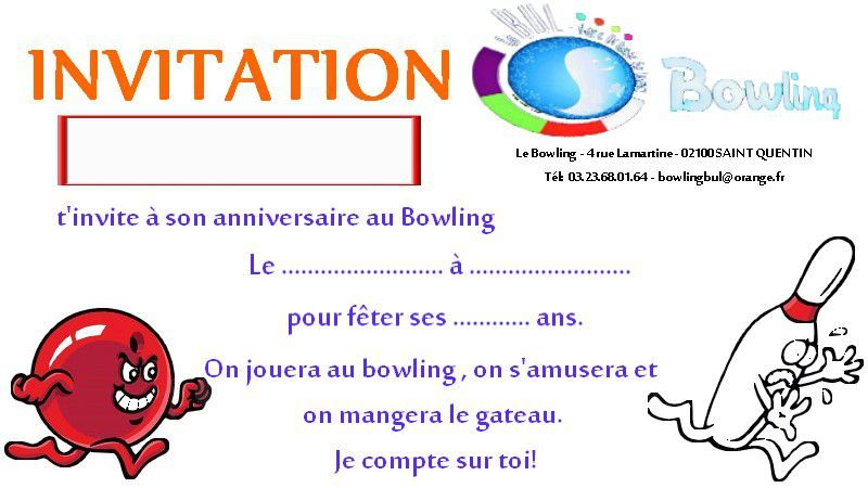 invitation anniversaire bowling a