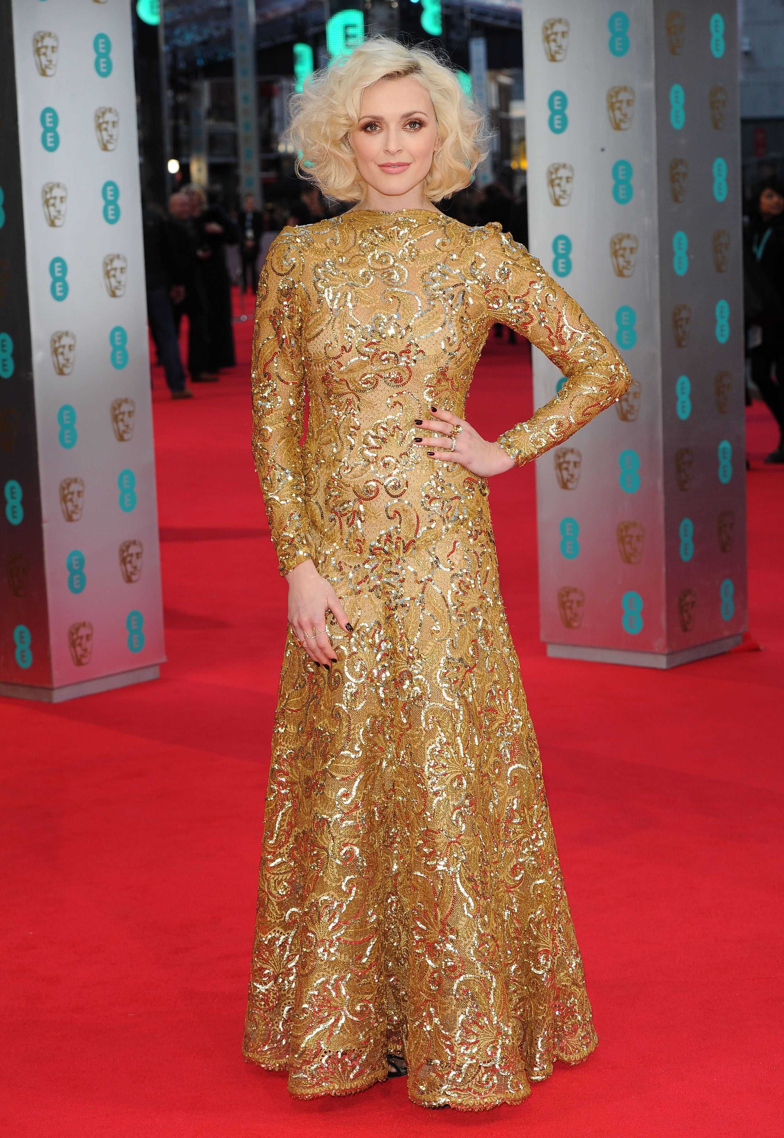 Heres British Tv Presenter Fearne Cotton Wore According To Red Carpet Fashion Awards A  Scaasi Gown Long Sleeve