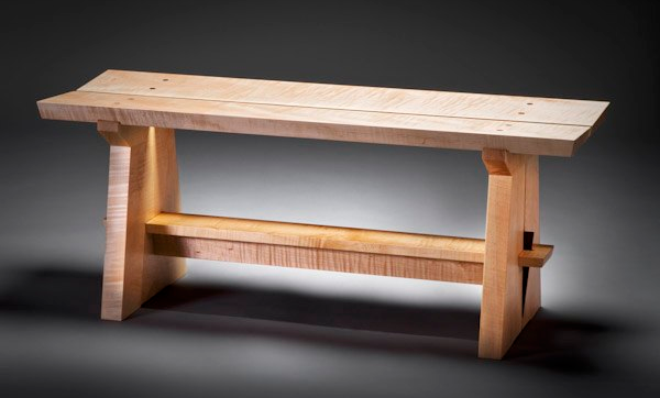 Japanese Garden Bench | Japanese Bench   Solid Curly Maple Standard Size:  42u201d Long