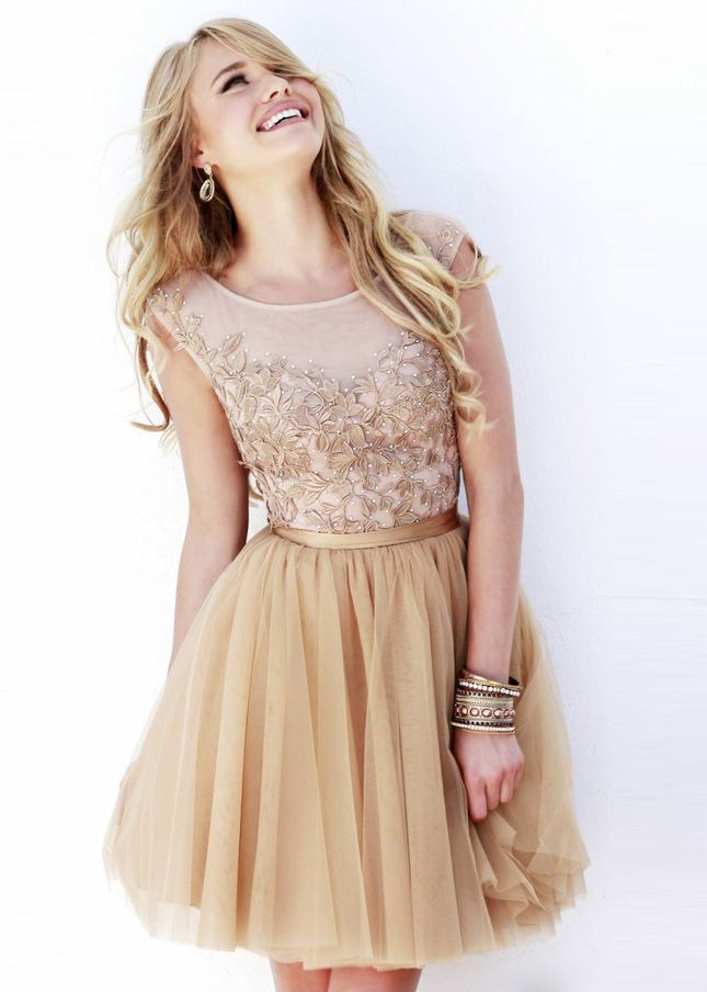 Floral Embroidery Sheer Nude Cap Sleeves Short Cocktail Dress ...