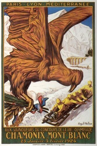 1st Winter Games Chamonix - Mont Blanc Ski Poster