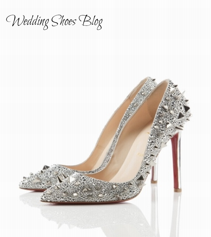 0b267e4f2496 Gaga Would Approve  Modern Silver Embellished Wedding Pumps. http   www.