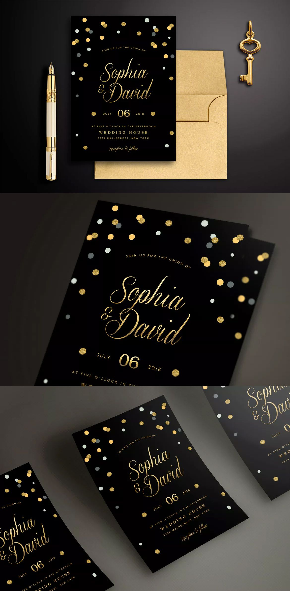 black gold wedding invitation psd card invite design templates