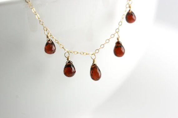 Rote Granat Edelstein Halskette  Januar Birthstone von bellezamia