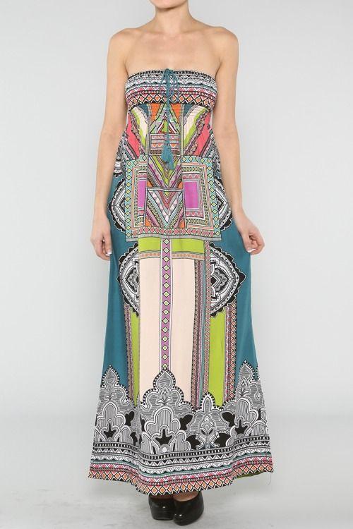 Smocked Ethnic Dress #wholesale #fashion #clothing #ootd #wiwt #shopitrightnow #tops #tribal #aztec #bohemian #bohemia