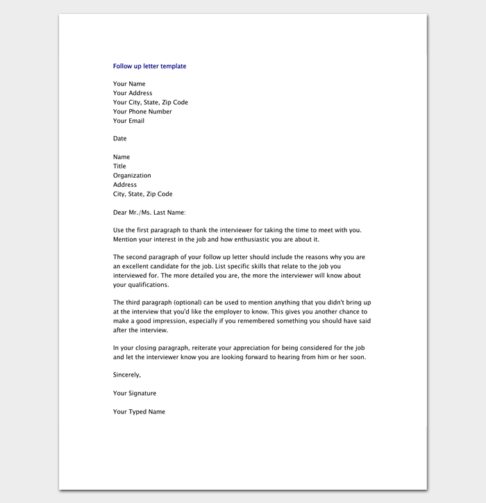 Resume Follow Up Letter Pdf  Letter Templates  Write Quick And