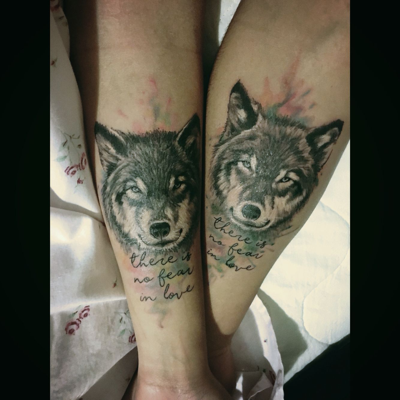 Couple Tattoo My Boyfriend And I Wolf Wolftattoo Lovetattoo Tattoolove Wolveslove Wolf Tattoos Couple Tattoos Unique Couple Tattoos