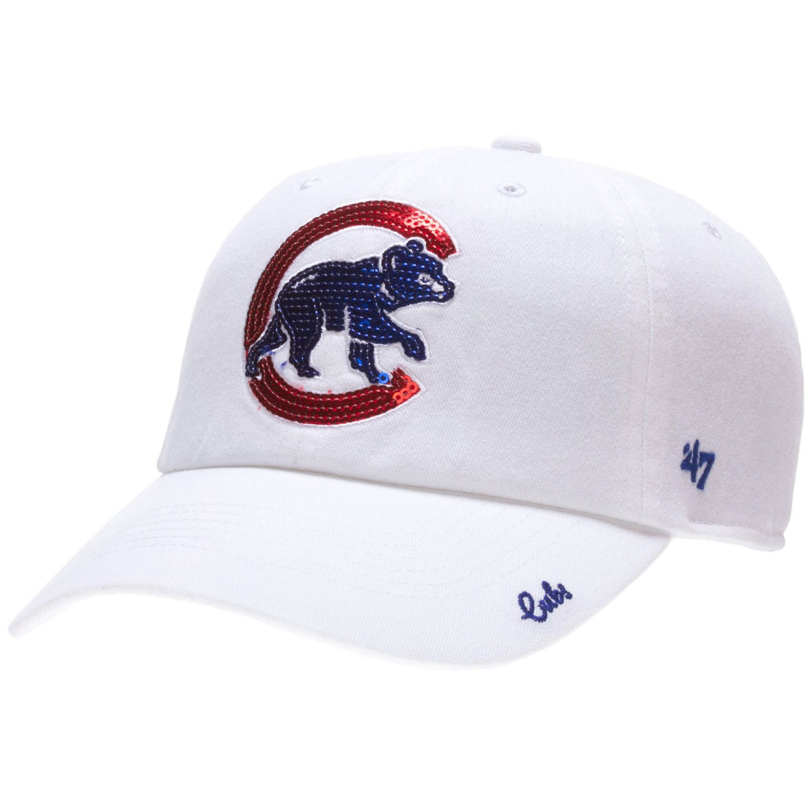 a6a57d9da9ba9 Chicago Cubs Womens White Sparkle Adjustable Hat by 47 Brand  Chicago  Cubs   ChicagoCubs