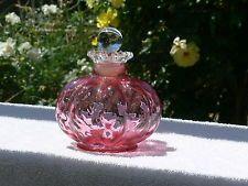Fenton Cranberry/Rose Glass melon shape perfume bottle with glass stopper.