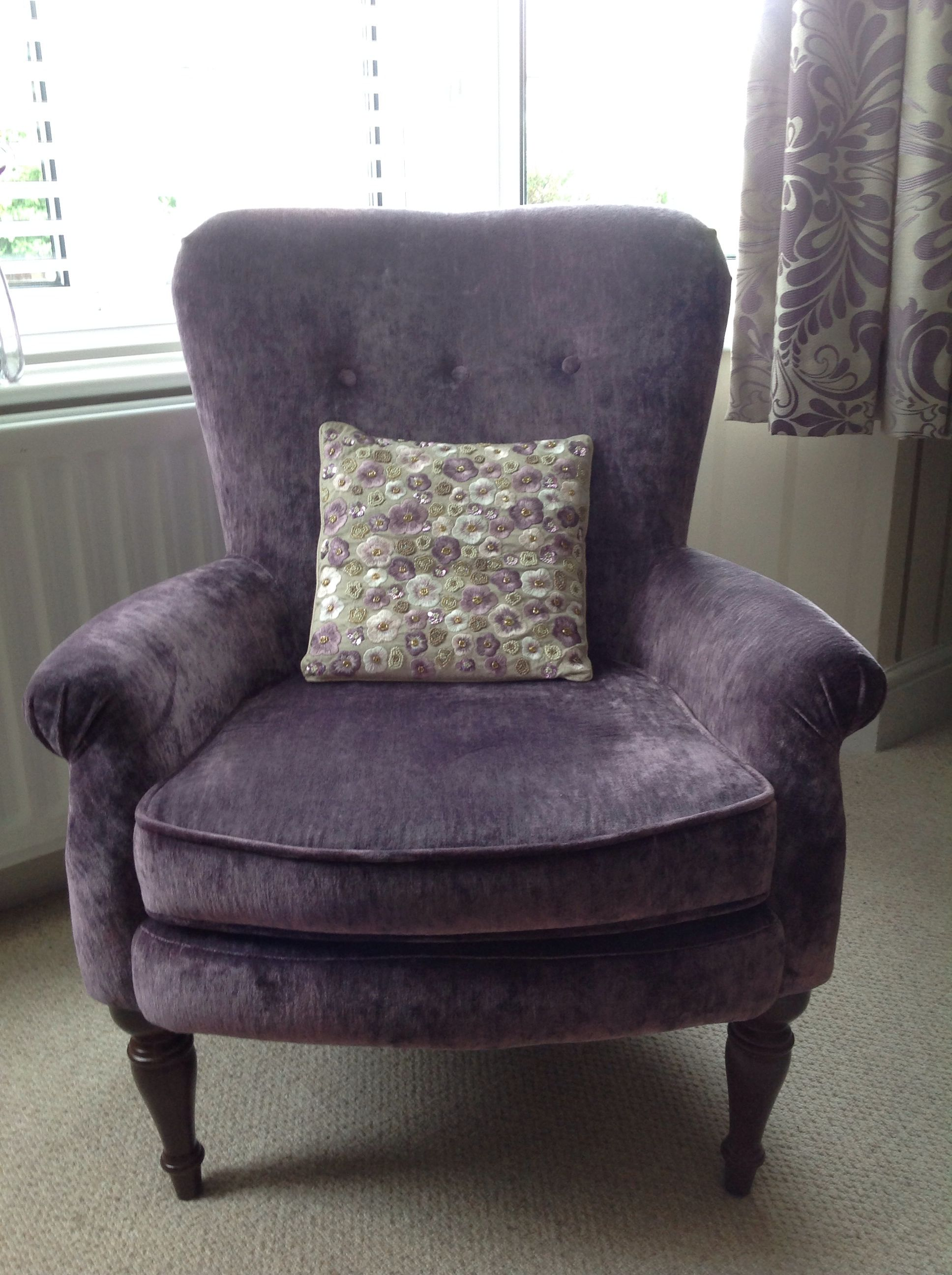 Ashley Chairs Laura Ashley Chair Harper In Caitlin Grape Cushion From John