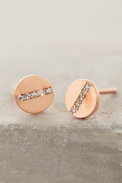 Pave Spliced Posts in rose gold - from anthro