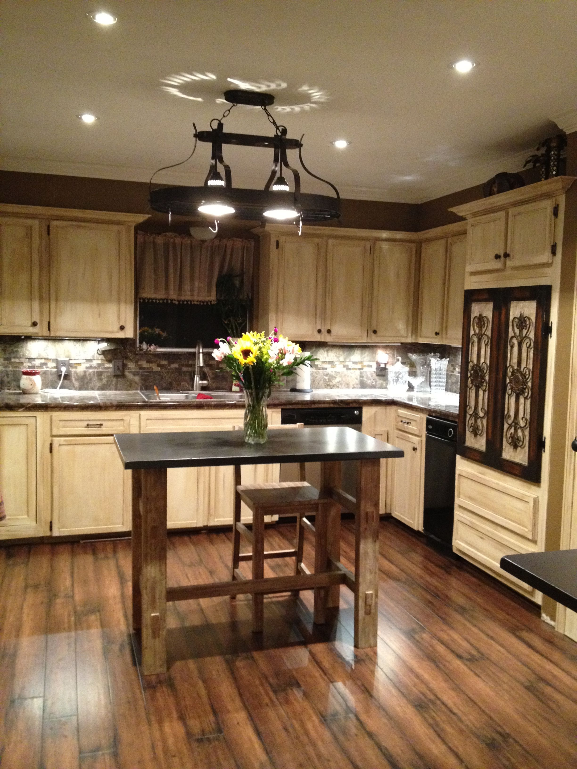 Painted kitchen cabinets using gel stain and polishing wax ...