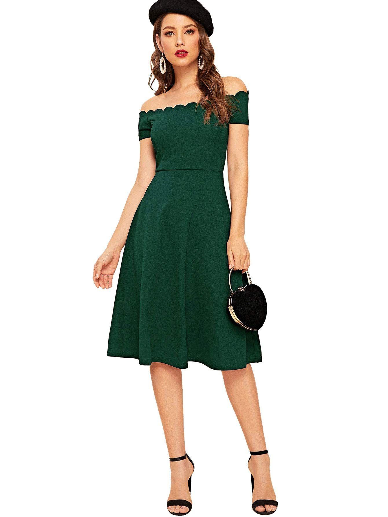 DIDK Damen Schulterfrei Kleider Sommerkleid Elegant Vintage