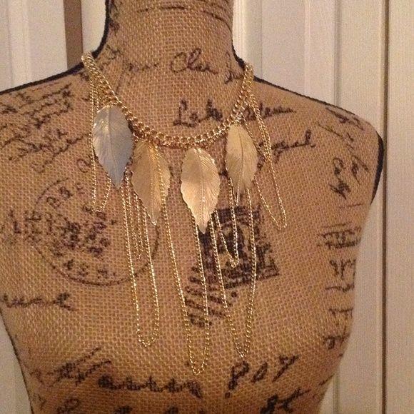 Gold Leaf Necklace/Earring Set NWOT Gold Leaf Necklace/Earring Set Jewelry Necklaces
