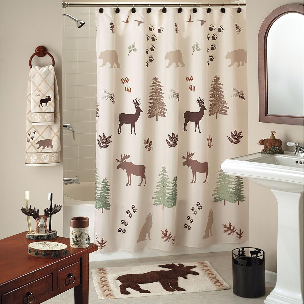 Wilderness Lodge Shower Curtain Collection Lodge Shower Curtain Cabin Shower Curtain Brown Shower Curtain