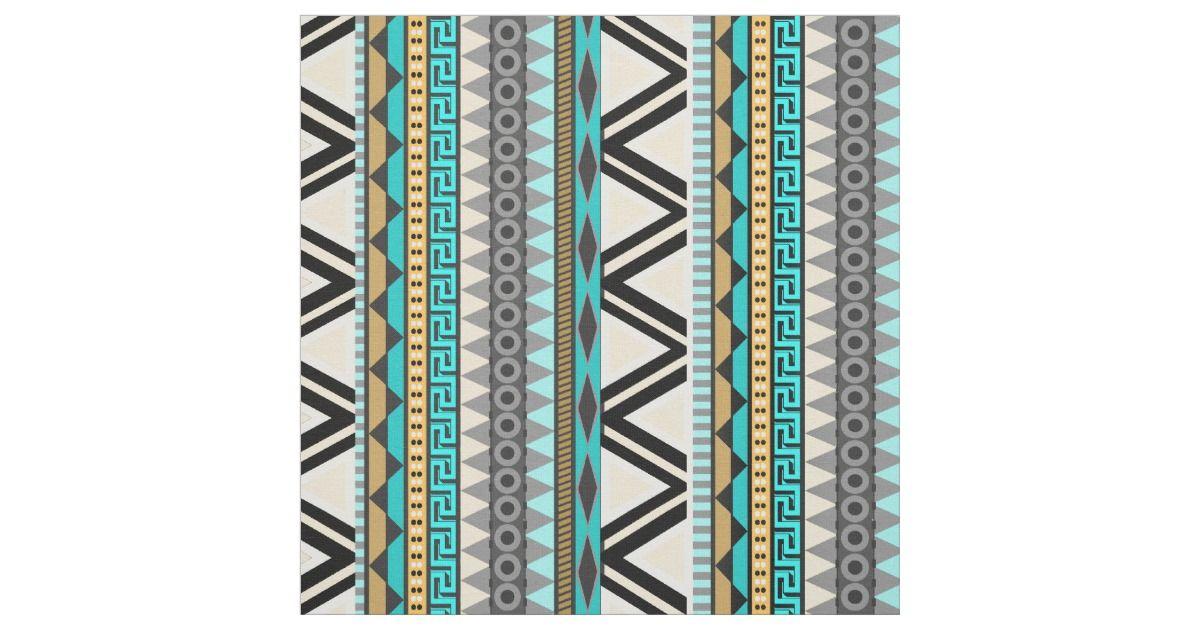 Aqua Gold Aztec Print Fabric   Zazzle